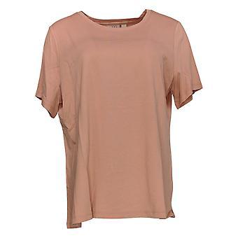 LOGO Par Lori Goldstein Women's Top Knit Short Slv Scoop Neck Pink A342991