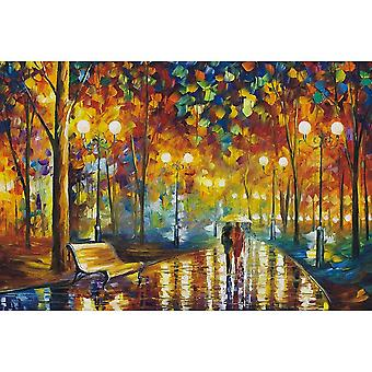 1000 Piece Jigsaw Puzzles for Adults - Walking in the Rain Oil Painting Artist