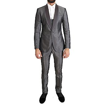 Silber Seide barocke einzelbrust Anzug