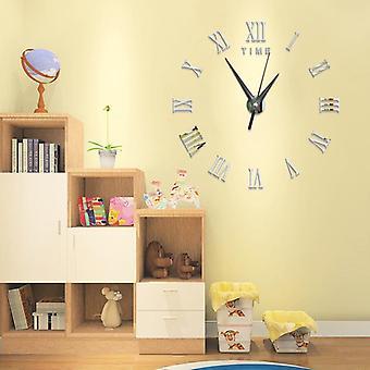 Große 3d diy Wanduhr römische Ziffern Uhr rahmenlose Spiegel Oberfläche Wand Aufkleber Wohnkultur für Wohnzimmer Schlafzimmer