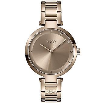 HUGO 1540077 Senhoras #hope relógio de pulseira de aço inoxidável de ouro