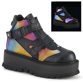 Demonia Women's Boots SLACKER-32 Blk Vegan Leather-Rainbow Réfléchissant