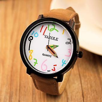 YAZOLE 347 Moda Skórzany pasek Damski kwarcowy zegarek casual kolorowy numer penc
