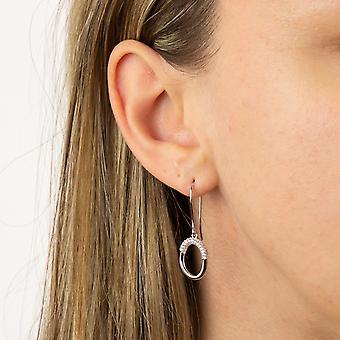 Fiorelli Silver Womens 925 Sterling Silver Rodium Pläterad Cubic Zirconia Open Circle Hook Örhängen