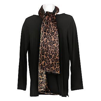 Susan Graver Women's Top Liquid Knit Tunic With Velvet Scarf Black A387766