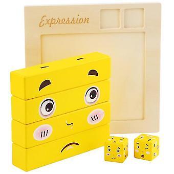 Große Gesicht ändern Rubik's Würfel Baustein Puzzle Kinder's pädagogische Eltern-Kind-Brettspiel Holz Herausforderung Niveau Spielzeug