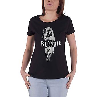 Blondie T Shirt Mic Stand Debbie Harry Logo new Official Womens Skinny Fit Black