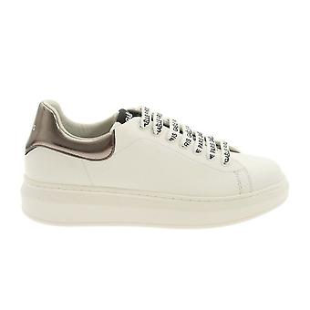 Women's Sneakers With Zeppa Gaëlle In White Faux Leather/ Silver D21ge06