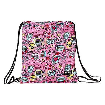 Backpack with strings blackfit8 pink pattern