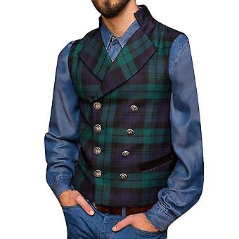 Allthemen Men's Double-breasted Classic Square Pattern Formal Suit Vest Casual Waistcoat