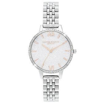 Olivia Burton Ob16gd68 White Demi Glitter Dial Sparkle Bezel Silver Ladies Watch