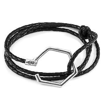 Coal Black Storey Silver & Leather Bracelet