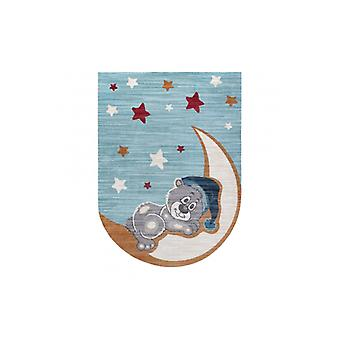 Children's rug TOYS 75322 Teddy bear for children - modern, irregular shape navy blue - turquoise / cream