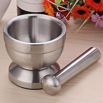 Mortero de acero inoxidable Pestle Set Pugging Pot Garlic Spice Grinder Farmacia Hierbas Bowl Mill Grinder Trituradora Herramienta de Cocina