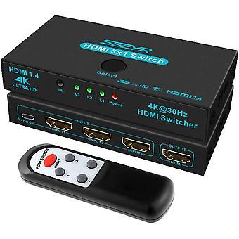 FengChun HDMI Switch 3x1 Metall HDMI Switch 3 in 1 HDMI Umschalter 3 Port HDMI Switcher mit IR