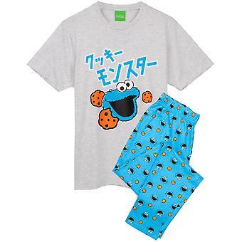 Cookie Monster Pyjamas For Men | Adults Sesame Street Japanese Grey Short Sleeve T-Shirt & Blue Loungewear Joggers Pjs | Muppets Merchandise