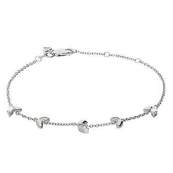 Diamonfire Womens 925 Sterling Silver Rhodium, Palladium & Platinum Plated Cubic Zirconia Leaf Charm Chain Armband Längd 17cm - 20cm