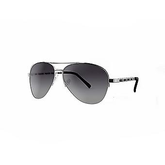 Ruby rocks metal new york aviator sunglasses with fabric braid detail temple in silver