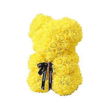 Valentine's day gift 25 cm rose bear birthday gift£? memory day gift teddy bear(Yellow)