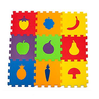 Matrax Eva Puzzle Kids Play Mat, Fruits, 33Cm X 33 Cm X 7 Mm, 9 Pieces, Bpa Free, Safe, Educational And Brain Training Toy For Kids