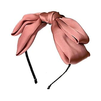 4PCS Solid Satin Bowknot Hairband Women Big Bow Headband Teen Girls Hairband Bow Knotted Center