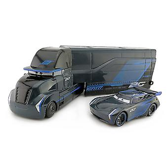 2st Racerbil 3 Black Storm Jackson Container Trailer Truck Legering Lastbil Mcqueen Mack Leksak