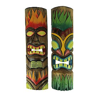 Fire and Earth Hand Crafted Wooden Tiki Totem Wall Masks 20 Inch Set of 2