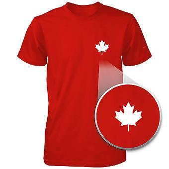 Kanada flagga Pocket tryckt röd skjorta söt mäns rund hals Tee för kanadensiska