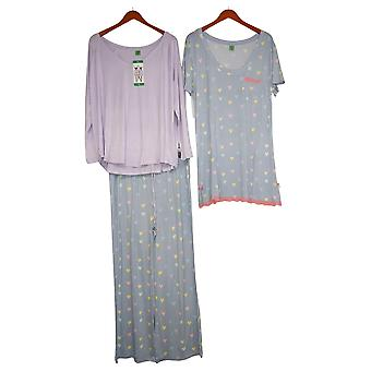 Honeydew Women's Set Reg 3-Piece Pajama Gown, Top, and Pants Purple