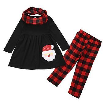 חג המולד ילדים בנות תלבושות חג המולד שמלה משובצת מכנסיים סרט ראש סט