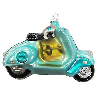 Aqua Blue Motor Scooter Glass Holiday Christmas Ornament