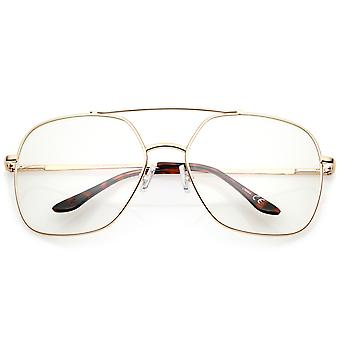 Retro Oversize Metal Frame Slim Temple Clear Lens Square Eyeglasses 64mm
