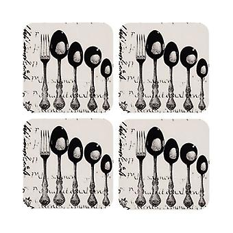 Ladelle Silverware Hardboard Set of 4 Coasters