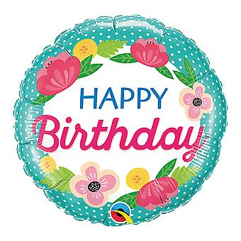Qualatex 18 Inch Birthday Petite Polka Dots Circle Foil Balloon