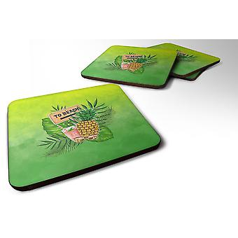 Set of 4 To the Beach Summer Foam Coasters Set of 4