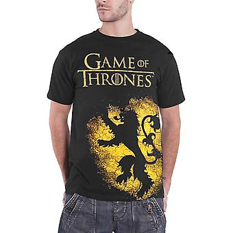 Game of Thrones T Shirt House Lannister Crest Spray Logo Official Mens New Black