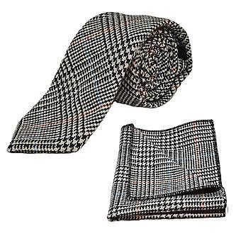 Black & White Dogtooth Check Tweed Tie & Pocket Square Set