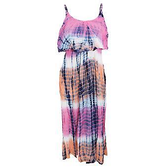 Womens/Ladies Tie Dye Stripe Pattern Strappy Summer Maxi Dress