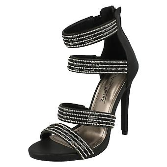 Ladies Anne Michelle Strapy Zip Up Heeled Party Shoes F10410