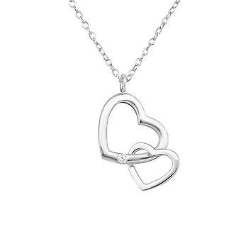 قلب مزدوج-925 فضة جيويليد قلادات-W34028x