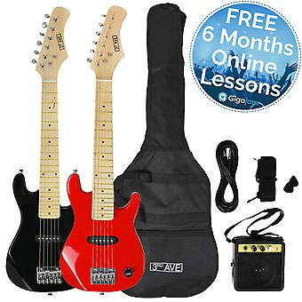 Pack Guitare Junior 3 rd avenue avec Amp - disponible en noir ou rouge