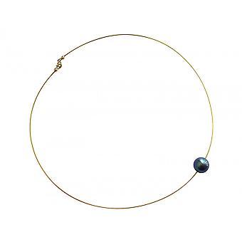 Collier pour femme GEMSHINE Perle de Tahiti grise. Collier de perles plaqué or