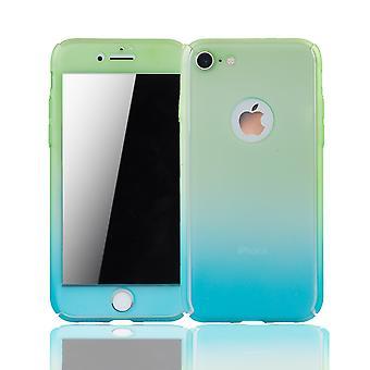 Apple iPhone 8 Handy-Hülle Schutz-Case Full-Cover Panzer Schutz Glas Grün / Blau