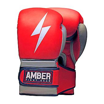 Amber Boksning Gel Sparring Handsker MMA Training Hook og Loop Mitts Red 16oz