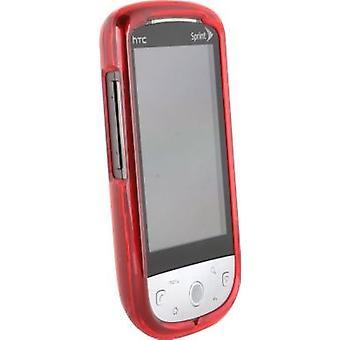 HTC Hero Snap-em caso duro (vermelho translúcido)