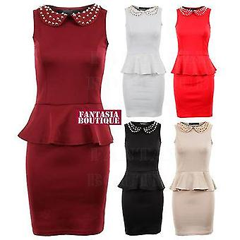 Ladies Gold Stud Peter Pan Collar Frill Peplum Shift Bodycon Women's Dress