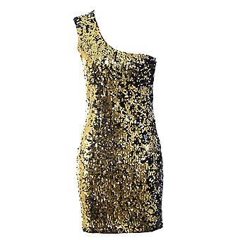 Dames een schouder ronde Sequin glanzend zilver Plain terug partij Womens jurk