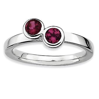 925 Sterling Silver Bezel Polished Stackable Expressions Db Round Rhodolite Garnet Ring Jewelry Gifts for Women - Ring S