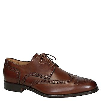 Leonardo Schuhe Men's handgemachte Wingtip Brogues Schuhe dunkelbraun Kalbsleder