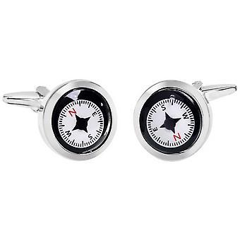 Boutons de manchettes Zennor Compass - noir/blanc/rouge